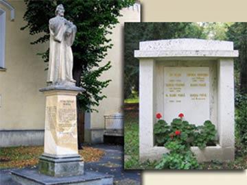 Left: Statue of Michal Miloslav Hodža, Liptovský Mikuláš; Right: Pálka family gravestone, Bratislava