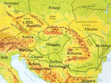 Map of Slovakia in Europe