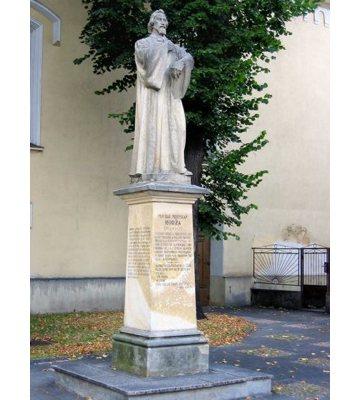 Statue honoring Michal Miloslav Hodža, placed at the entrance to the Lutheran church of Liptovský Mikuláš.